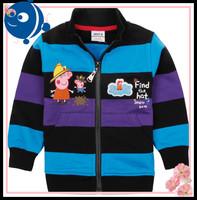 Boys peppa coat 2014 new fashion NOVA kids wear coats for kids printed cars zipper winter striped peppa pig & car jacket