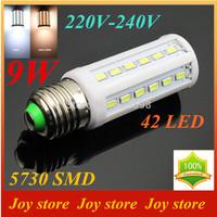 9W,5730 SMD,LED Lamps Bulb,E27 B22 E14,220V,230V,240V,Cold White/Warm white,42 LED,Corn Light Bulb,Ultra bright,free shipping