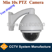 "free shipping Outdoor 1/3"" sony ccd,600tvl, 4inch 10x optical ptz cctv system with bracket and power"
