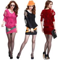 Free shippingSpring 2014 women's ol elegant sexy lace slim hip slim one-piece dress faux two piece set