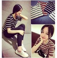 Summer basic 2014 100% cotton stripe all-match loose short-sleeve t-shirt female f15