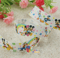 "20 Yards Wholesale 1"" 25mm Minnie & Mickey Printed Grosgrain Ribbon Hair Bow Craft Scrapbook"