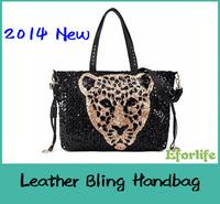 Leopard Head Design Bling women messenger bags Shoulder Bag PU Fashion leather handbags Shining casual Rivets bag