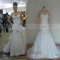 Amanda NoviasLong Sleeve Nude Color Lace Wedding Dress With Beading
