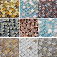 Crackle Crystal Glass Stone Mosaic Tiles, bathroom mosaic tiles, floor tiles, Kitchen Backsplash