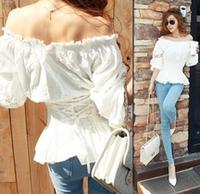 new 2014 summer women t-shirt brand fashion lantern sleeve bandage T shirt tops for Women Lace princess slash neck  t shirts