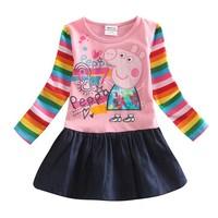 Retail H4235# 18m/6y NOVA girl dress kids wear 100% cotton peppa pig  casual brand dress for baby girls