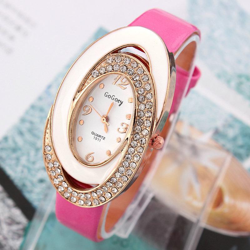 1pcs GoGoey Women Dress Watches Bicyclic oval Casual Watch Ladies quartz watches Analog Wristwatches(China (Mainland))