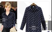 2014 Fashion ladies small floral print long sleeve turn-down collar shirt chiffon shirt free shipping