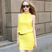 2014 European and American candy-colored halter dress chiffon vest bottoming A skirt chiffon dress (with belt