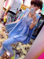2014 summer Maternity Dress jean rhinestone beading casual dress cheap fashion ball gown dress knee-length pregnancy dress