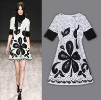 Free shipping 2014 Italy runway silk print dress Women's High Quality sleeveless dress brand casual dress