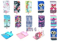 For Motorola MOTO G Wallet Stand PU Leather Case Cover with card slot Owl Tower Skin