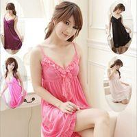 Summer Sexy Women Pajamas Cute Sleep Dress Lace Silk Nightgowns Camisole Sleepwear