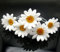 5Pcs Free shipping Hair Jewelry New White Daisy Flower Hair Pins. Wedding party woman hair grips