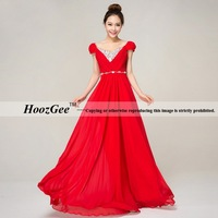 A line/column fashion floor length red chiffon long slimming formal evening dresses with austrian crystals HoozGee 22114