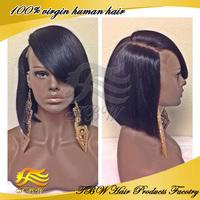 brazilian virgin human hair full lace bob wig with bangs on left side 100% human hair bob wigs high density 150&180 in stock