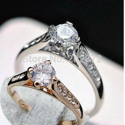 OL 18K Rose Gold Plated zircon Wedding Rings ,finger ring ,engagement ring ,circlet FREE SHIPPING!(China (Mainland))