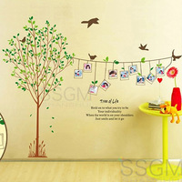 Vinyl Removable Wall Sticker Decal Home Decors Tree Family Photo Frame Bird Wall Stickers Vinyl Decal Decor Living Room Home