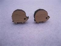 unique animal hedgehog earring diy stud wood earrings