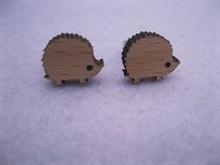 unique animal hedgehog earring diy stud wood earrings(China (Mainland))