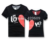 Free Shipping 2014 Fashion Lovers T Shirt Short Sleeve Slim Couple Tee Summer Cotton Casual Heart Shape Lover T-Shirt 1 Pcs