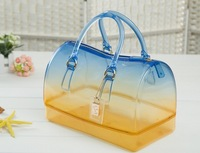 2014 new handbag jelly bag fulla candy color gradient color transparent crystal and beach bag FREE SHIPPING