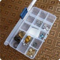 15 Grid Portable Jewelry Box Jewelry Display Organizer Storage Clear Box Display Holder Case Clear Jewelry Bead Storage
