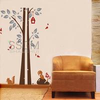 Vinyl Removable Wall Sticker Decal Home Decors Squirrel Bird Birdhouse Tree Decal Sheet Art Removable Wall Sticker Home Decor