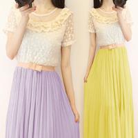 Cheap New 2014 Summer Bohemia Full Dress Lace Short-sleeve Chiffon One-piece Dress Pleated Long Maxi Dress