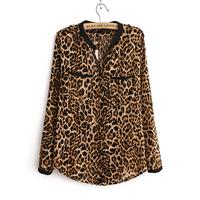 2014 spring and autumn blouse shirt women the latest  leopard print chiffon shirt Slim primer shirt female long-sleeved shirt