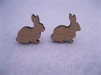 laser cut rabbit shape wooden stud earrings for women