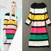 New Spring Autumn High-end Woman Puff Sleeve Striped Cotton Dress Slim O-Neck Collar Casual Brand Cute Straight Mini Dress S M L