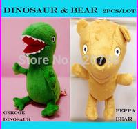 New Hot Sale Plush Peppa George Pig Toys Movie TV Peppa Pig Bear & George Pig Dinosaur hold Teddy Stuffed Animals Dolls Kids