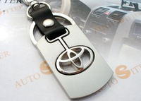 Free shipping New double metal alloy key chain/leather Toyota car logo key chain/car gifts Christmas