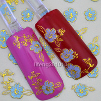 Wholesale  Hot stamping 3D gold-giled morning glory Blue Flowers Nail Stickers  Decorations Tool TJ006 10pcs/lot