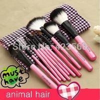 2014 new 11 Pcs  Professional Make up Brush set Cosmetic Brushes  set  kits Set Case animal hair Cosmetic Bag  free Shipping m4