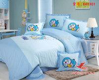 New Beautiful 100% Cotton 4pc Doona Duvet QUILT Cover Set boy's bedding set Full / Queen / King size 4pcs cartoon blue Doraemon