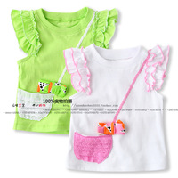 new 2014 Summer children t shirts baby & kids clothes girls t-shirts child ruffle sleeve t-shirt baby girl short sleeve T-shirts