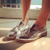 2014 Closed Toe Metallic Silver Tassel Low Heel 3cm Sheepskin Woman's Loafers