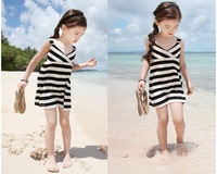 New Brand Female Children's clothing 2014 summer Korean girls dress black and white striped dress