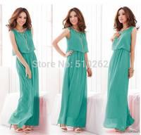 2015 Women High Quality Pleated Bohemia Maxi Long Chiffon Dress/Vacation Beach Dress free shipping