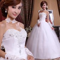 2014 fashion women dress Sweet lace Lovely High-quality Sexy princess dress rhinestone flower bride wedding dress