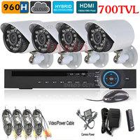 8CH 960H DVR 700TVL System HVR NVR DVR IR-CUT 700TVL Outdoor Day Night IR Camera Color Video Surveillance System