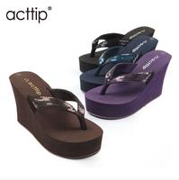 free shipping 2014 wedges flip flops women summer shoes paillette flip beach slippers Women high heel sandals acttip