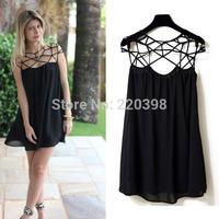 DA 2014 New  Fashion Summer Women Cute Novelty Black Party Plain Girl Cut Out Chiffon Mini Shift Dress Sexy Vestidos  S-XL 628