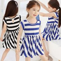 New Summer 2014 Kids Clothing Striped Short-Sleeved Girl Princess Dress