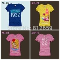 2014 new spring embroidery women's hollis & ter t shirts fashion casual women t shirt brand woman tee shirts free shipping
