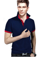 Free Ship 2014 Hot Fashion Men Polo Shirt Patckwork Turn Down Neck Englang Slim Brand Tees Shirts Man