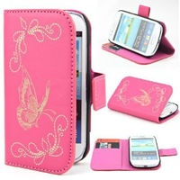 Wallet Laser Butterfly Stand Leather Flip with Credit Card Holder Case  for Samsung Galaxy S3 III Mini i8190 (note for 9300)